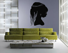 Wall Vinyl Sticker Room Decals Mural Design African Woman Face Hair bo1263