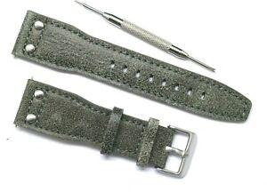 24mm Grey/Blue Rivet Style Nostalgic Leather Men Watch Strap W/ Spring Bar Tool