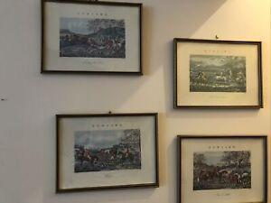 4 Antique Framed Horse & Hounds Hunting Prints by H Alken & Engraved by J Harris