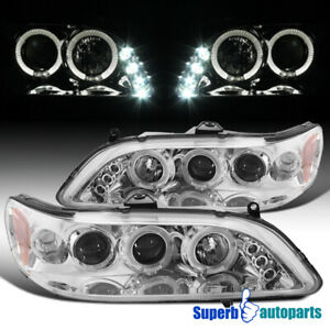 For 1998-2002 Honda Accord LED Dual Halo Projector Headlights
