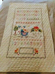 Baby Quilt Wall Hanging Light Yellow 123 ABC 34 inch by 54 inch