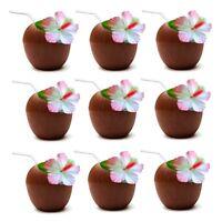 12 x Hawaiian Luau Hula Tropical Plastic Party Coconut Cup Drink & Straw QR-0005