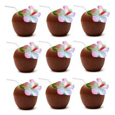 12 x Hawaiian Luau Hula Tropical Plastic Party Coconut Cup Drink & Straw QR05