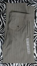 NWT Eddie Bauer Mens Size 32X31.5 Classic Fit Gray Striped Pants Flat Front