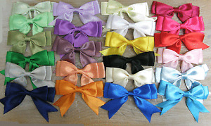 Pack of 6 - Large Ready Made 8.5cm / 25mm, Satin Ribbon Double Bows - 48 Colours