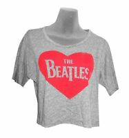 Beatles Heart Logo Girls Juniors Heather Grey Crop Top Shirt New Official