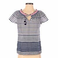Vineyard Vines Blue White Striped Short Sleeve Cotton Keyhole V Neck Top Sz XS