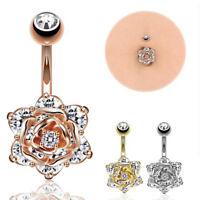 Crystal Zircon Flowers Dangle Navel Belly Button Ring Bars Body Piercing*Jewe ov