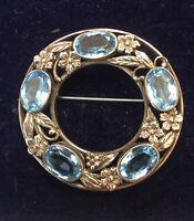 Art Nouveau Design Silver Blue Topaz Flower Brooch, Hallmarked
