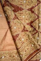 Vintage Indian Pure Tussar Silk Saree Hand Woven Sari Sarong Antique Textile