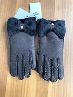 UGG Bow Shorty Gloves SHEARLING SHEEPSKIN Women's  L METALLIC BLACK NWT $155
