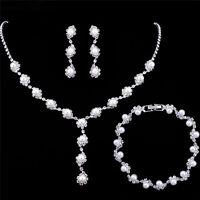 Mariée bijoux mariage ensemble simple cristal collier boucles d'oreillesbracelet