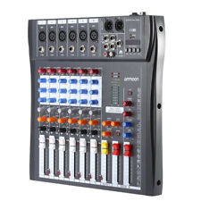 6 Kanäle Mic Audio Mixer Mischpult USB XLR Eingang 3-Band EQ 48V + Netzteil J2H6
