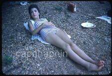 Gorgeous Swimsuit Girl Relaxes on A Rocky Shore Vintage 1950s Slide Photo