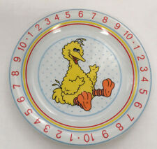 sesame street  yellow big bird number counting  learning porcelain serving plate