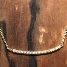 NEW 14k Yellow gold Natural Diamond Curved Bar Adjustable chain necklace .044ct