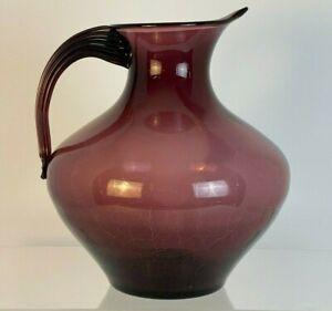 "Monumental Blenko #963 Amethyst Crackle Glass Pitcher Vase 13"" x  12"" 1953 Nice!"