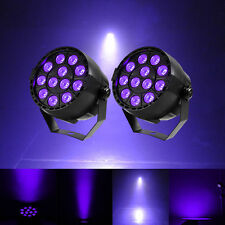 2PCS 12x 1W LED UV Black Light Par Can Stage Lighting DMX Disco Club DJ Light