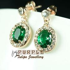 Emerald Dangle Stud Made With Swarovski Crystals Earrings ,18CT Rose Gold Plated