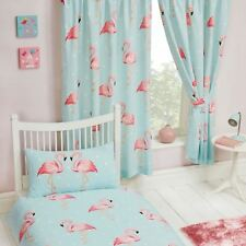 "FIFI FLAMINGO BLUE TURQUOISE CURTAINS LINED 66"" x 54"" KIDS GIRLS BEDROOM"