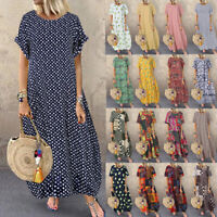 ZANZEA Womens Summer Short Sleeve Beach Dress Polka Dot Ladies Long Maxi Dresses