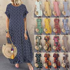 ZANZEA Womens Summer Short Sleeve Beach Dress Polka Dot Ladies Long Maxi Dresses