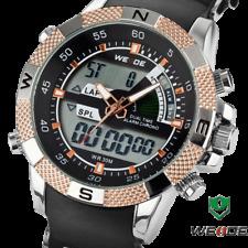 Weide 47mm Dual Time Digital / Analog Quartz Day Date Alarm Silicone Wrist Watch