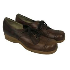 1960s Oxford Shoes / 60s Nos Brown Lace Up Shoes Wedge Heel Unworn / 8B