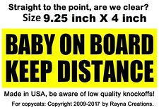 Unique Baby On Board Keep Distance sign bumper stickers, Best Made in USA