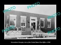 OLD LARGE HISTORIC PHOTO OF GREENSBORO GEORGIA, THE US POST OFFICE BUILDING 1940