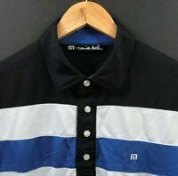 TRAVIS MATHEW Men's Striped Short Sleeve Golf Polo Shirt sz M Medium
