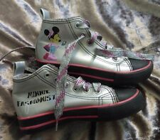 disney girls shoes trainers silver minnie mouse pumps ankle boots fur 11 29 new