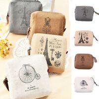 Cute Eiffel Card Classic Pouch Case Girl Wallet Handbags Coin Purse Canvas