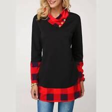 US Women Tunic Sweatshirt Jumper Button Plaid Cowl Neck Casual Blouse Shirt Tops
