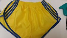 nailon Satén Sprinter Pantalones Cortos Amarillo Con Azul Real Rayas & Detalle,