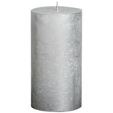 6 Bolsius Rustik Metallic Stumpen Kerzen 130x68 mm silber Bolsius Rustic