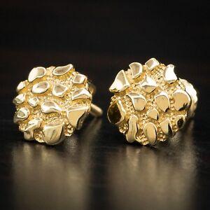 Men's 14K Gold Vermeil Round Shaped Hip Hop Nugget Stud Screw Back Earrings