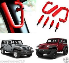 Red Front Grab Bar Handles For 2007-2017 Jeep Wrangler JK New Free Shipping