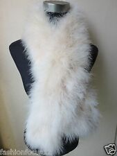 Free shipping/real  ostrich feather fur scarf/white  110cm*14cm/cream colour