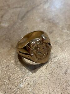 Vintage Gold Signet Ring 9K Fortis Et Fidelis Lion, Crown & Axe Size 8.5 13.13g