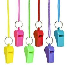 6  Plastic Whistle & Lanyard Emergency Survival, Party's