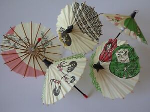 Set of 5 Japanese Hand-made Kasa Multi-Pattern Mini Umbrella Paper Parasol