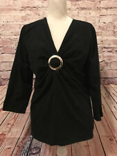 JOSEPHINE CHAUS - Black Cotton Blend XL Knit 3/4 Slv Blouse Metal Detail Bodice