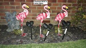 3  Flamingo metal Ornament 53cmTall  & 3 solar spot light for Garden or House