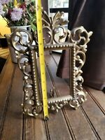 "NB & IW Vintage Brass? Cast Iron? Gold Frame Swivel Easel Stand 12""×7"" Victorian"