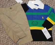 New! Baby Boys Polo Ralph Lauren Outfit (Stripe Shirt, Cargo Pants) - Size 9 mo