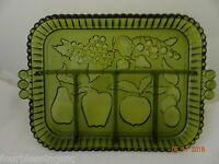 INDIANA GREEN GLASS 5 PART DIVIDED RELISH TRAY/PLATTER-MID-CENTURY W. HANDLES