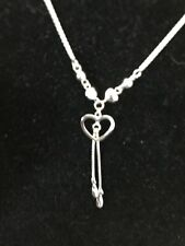 18K Solid White Gold Diamond Cut Lariat Necklace 18""