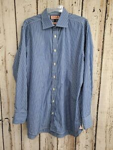 BF Men's Size 16.5 35 42-89cm Thomas Pink Classic Striped Button Up Dress Shirt