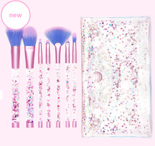 BRAND NEW LIME CRIME AQUARIUM MERMAID Liquid Glitter Makeup Brush Set & Pouch